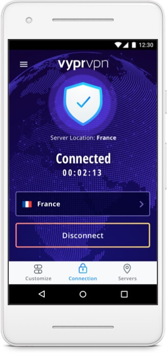 Android phone device with connection to VyprVPN for Android. IP Location USA