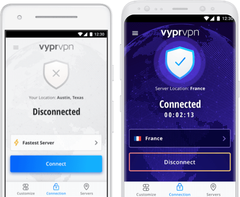 Two Android devices with connection to VyprVPN, the best VPN for Android on screens