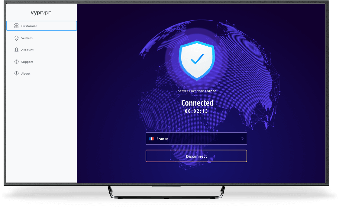 Vyprvpn android TV connected